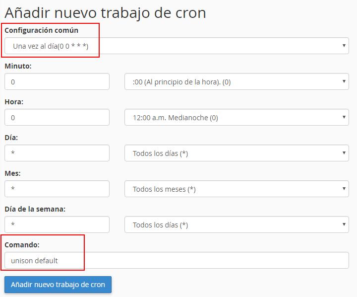 Cron cPanel para Unison