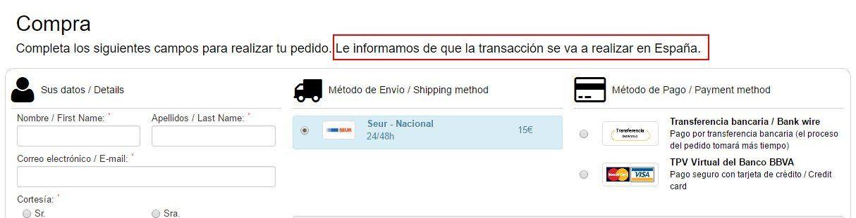 Resultado normativa españa one page checkout prestashop