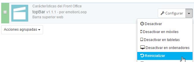 Reinicializar módulo Content Box