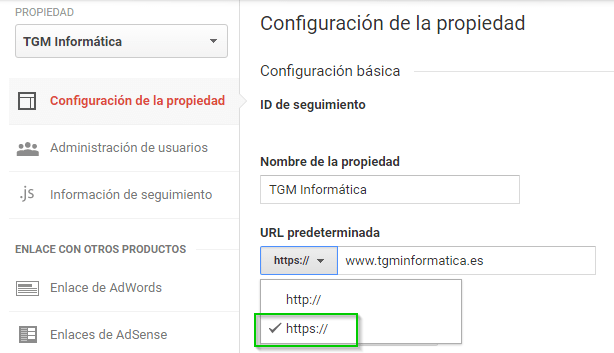 Cambiar Google Analytics a HTTPS