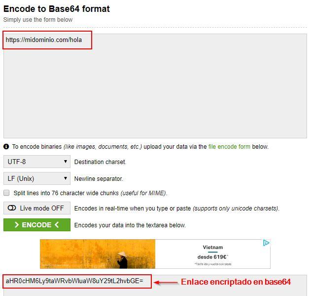 encriptación base 64 para ofuscar enlaces