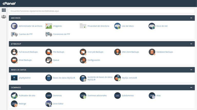 Panel general: archivos, jetbackup, bases de datos, dominios