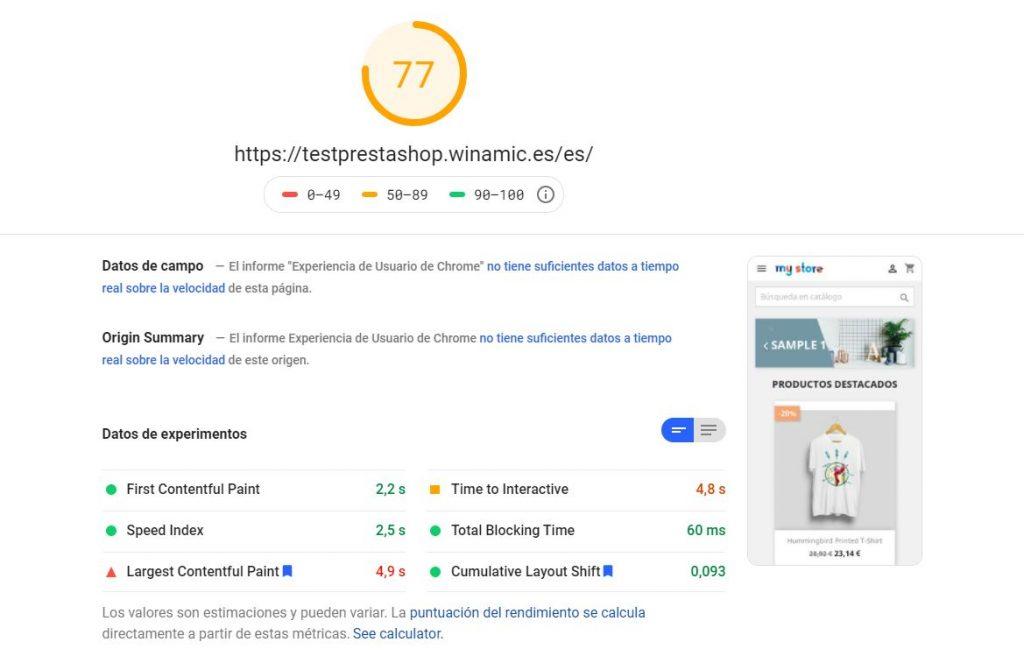 PageSpeed prestashop optimizado