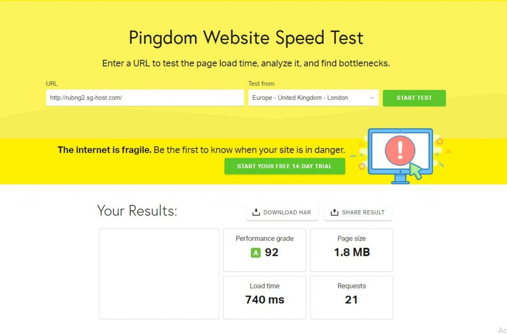 Pingdom tools prestashop optimizado - siteground