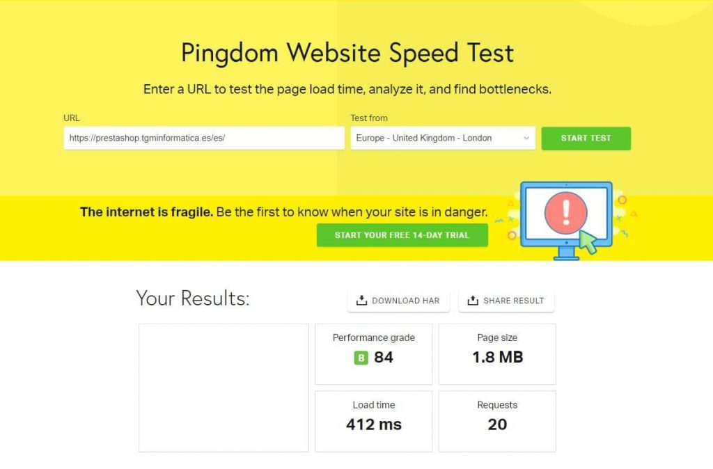 PingdomTools prestashop optimizado - webempresa
