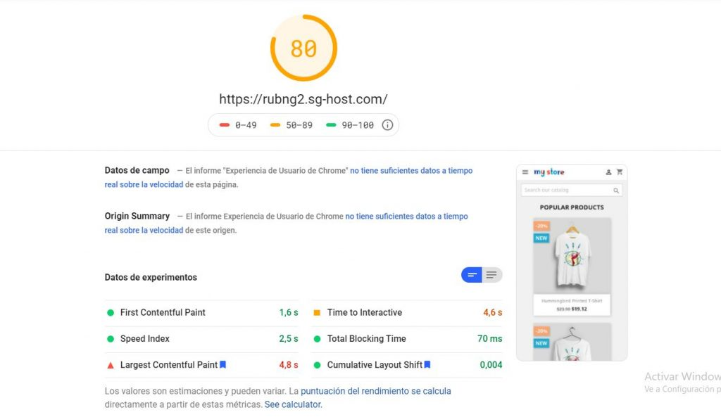 PageSpeed prestashop optimizado - siteground
