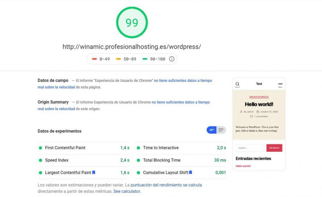 Profesional hosting wordpress por defecto page speed