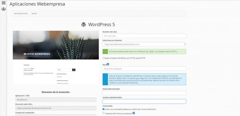 Instalación wordpress webempresa